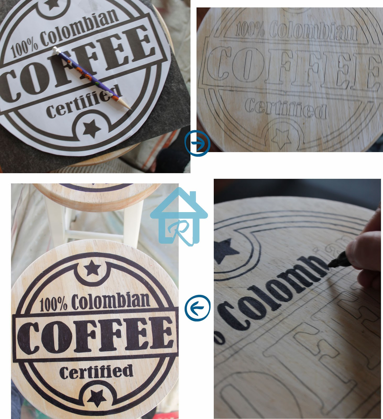 painting coffee graphics on stools seat