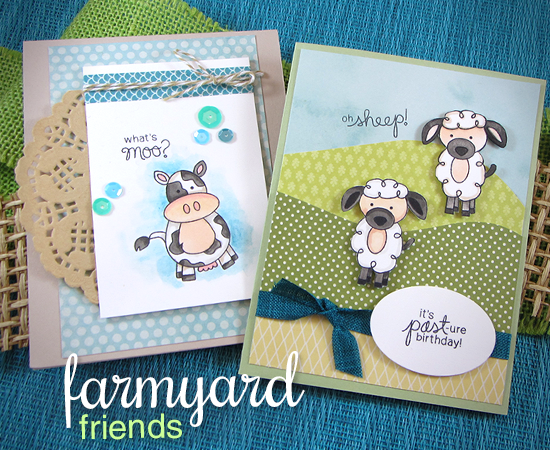Cow and Sheep Birthday Cards by Jennifer Jackson | Farmyard Friends Stamp Set by Newton's Nook Designs