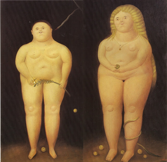 adam and eve,Fernando Botero,cute painting