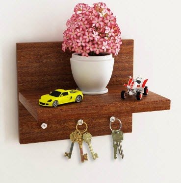 Pepperfry: Buy Home Sparkle Brown Wall Shelf Cum Key Holder Rs. 199