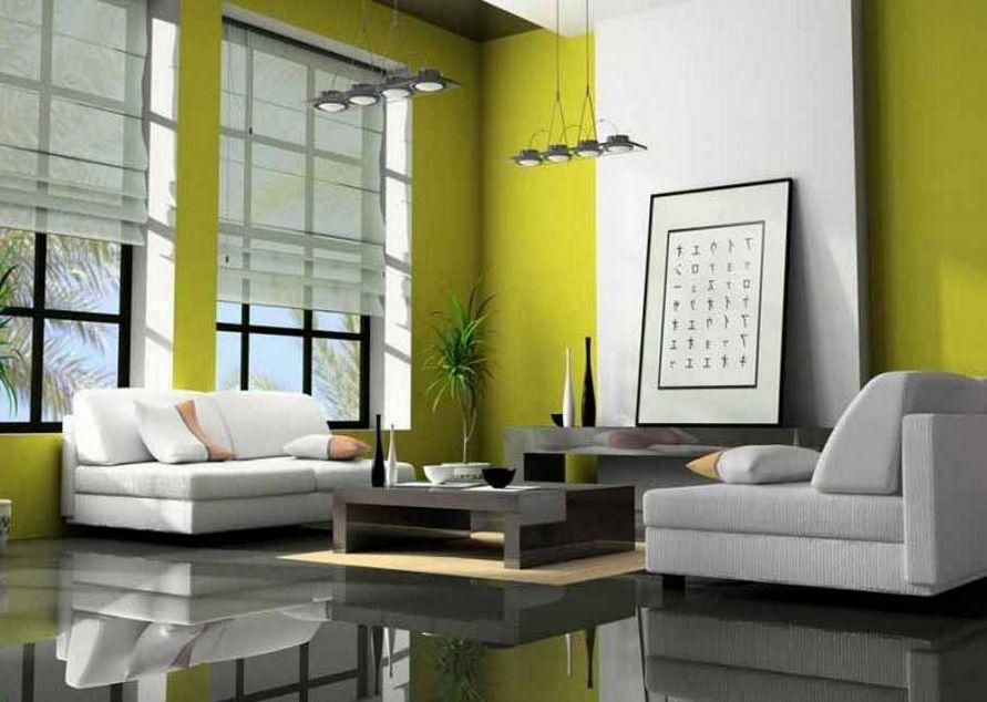 pemilihan cat ruang tamu warna hijau terlihat bagus