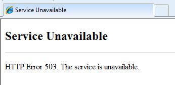 503 Service Unavailable Hatası Error
