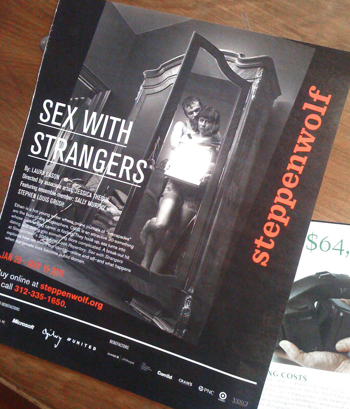 Advertisement for Steppenwolf Theater's production of Sex with Strangers.