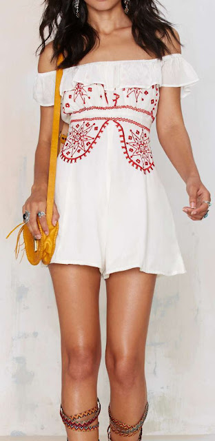 Bohemian Bones Cherry Bomb Embroidered Romper