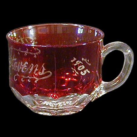 Antique EAPG Ruby Stained Punch Cup