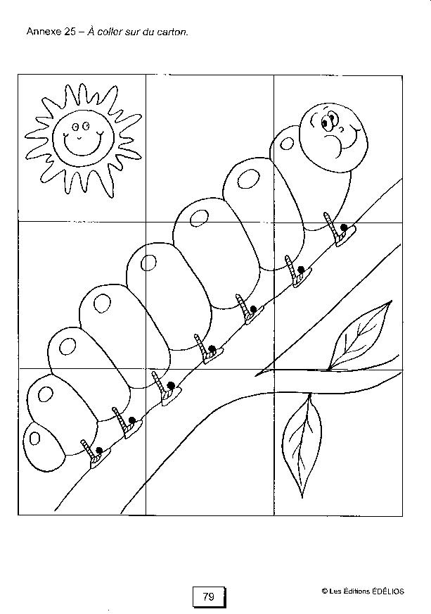 la maternelle à la maison puzzle à fabriquer chenille