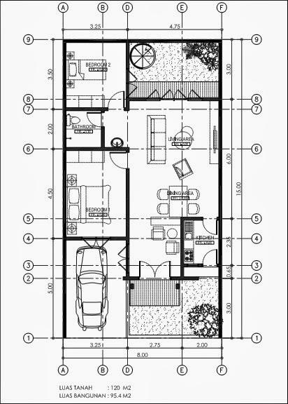 gambar denah rumah minimalis ukuran 8x15 luas 120m2