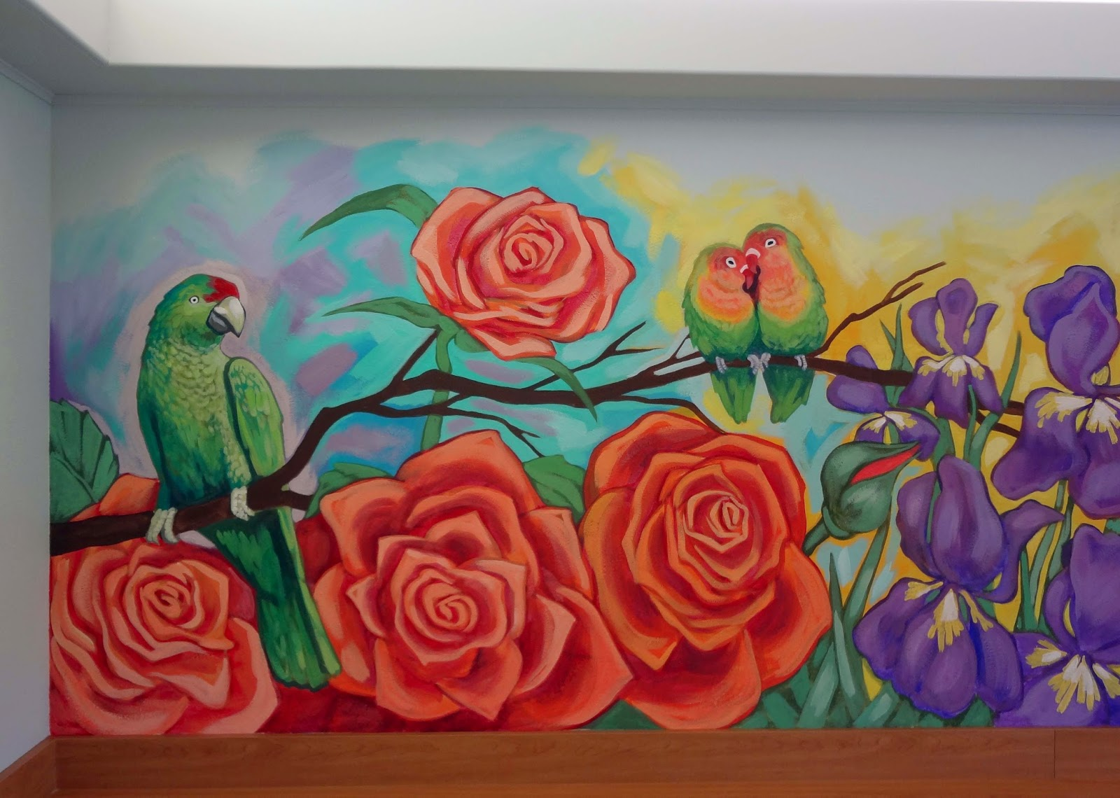 portland oregon muralist, snoezelen room mural, tropical birds mural, memory care mural