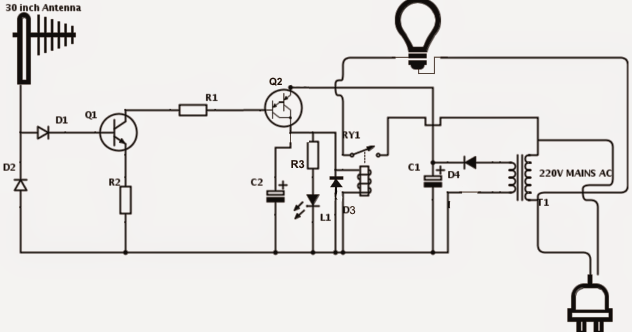 cell phone triggered rf night lamp circuit
