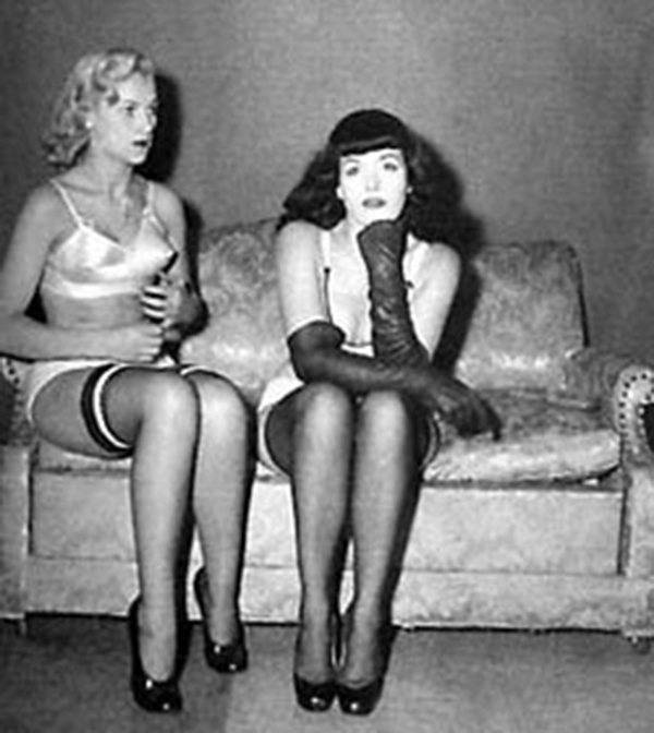 photo of bettie page with pin up model