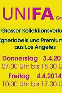 Großer Kollektionsverkauf bei UNIFA Modeagentur in München ab 03.04.2014