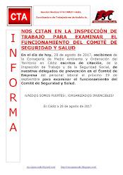 NOS CITAN EN LA INSPECCIÓN DE TRABAJO PARA EXAMINAR EL FUNCIONAMIENTO DEL COMITÉ DE SEGURIDAD Y SAL