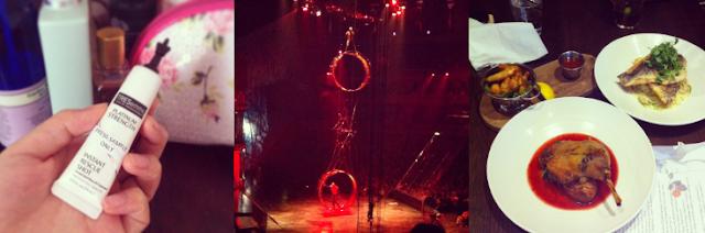 Tresemme platinum strenght, Cirque du soleil kooza, Cirque du soleil wheel of death, Lunch, Duck, Prawns, Seabass