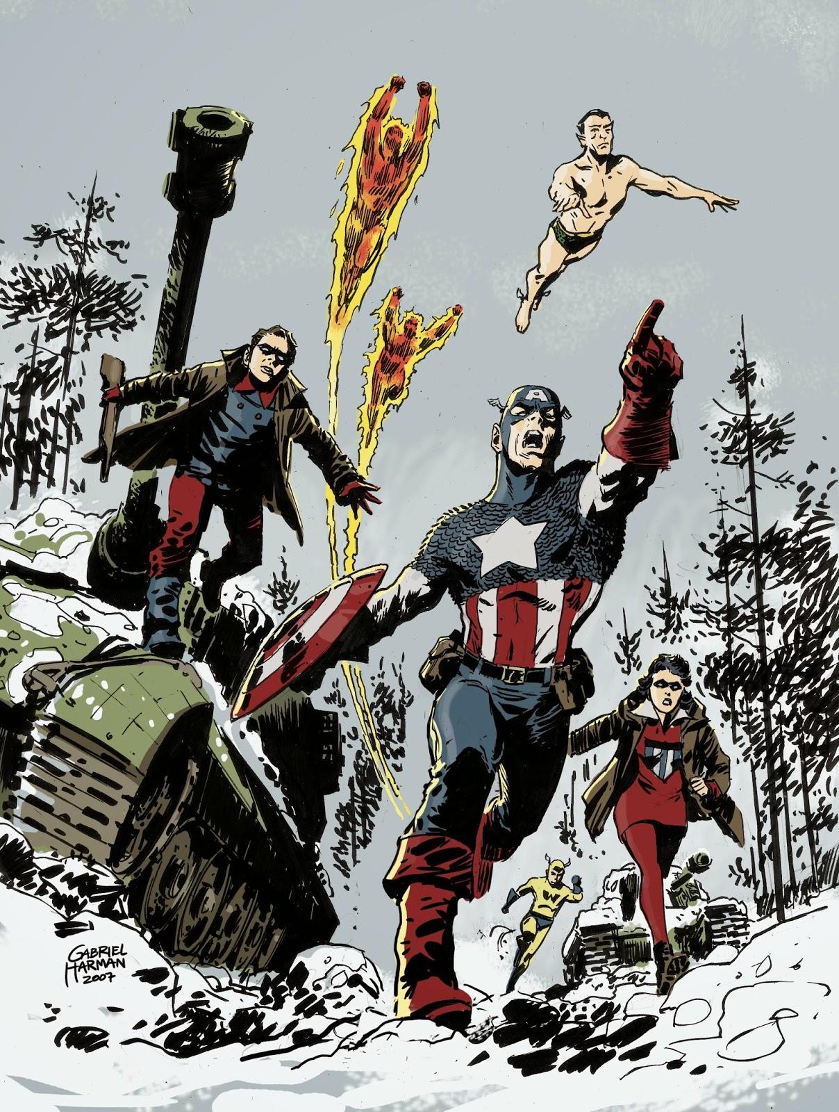 Dibujo del Capitán América y de Los Invasores