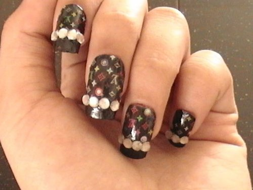 Print and Stone Accented Nail Art