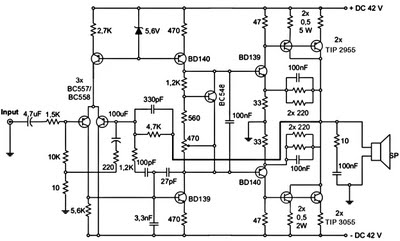 300W    Subwoofer    Amplifier Circuit    Diagram     The Circuit