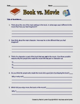 Compare and Contrast Book to Movie Worksheet