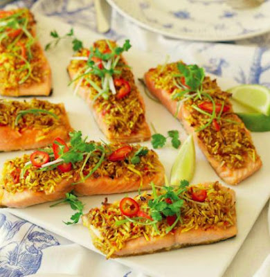 Baked Salmon with Coconut, Chilli and Ginger
