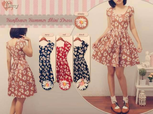 baju dress bunga, floral, long dress