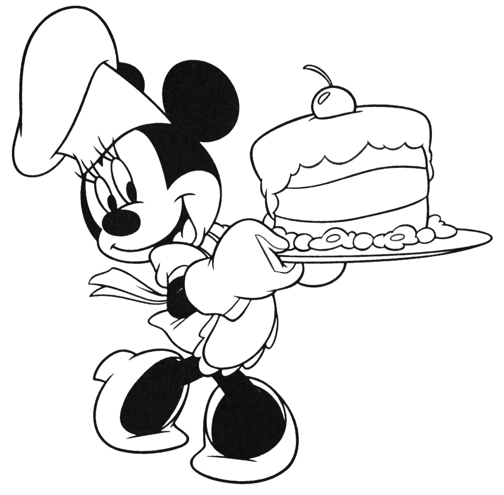 Mouse and Minnie Mouse Cooking Coloring Pages
