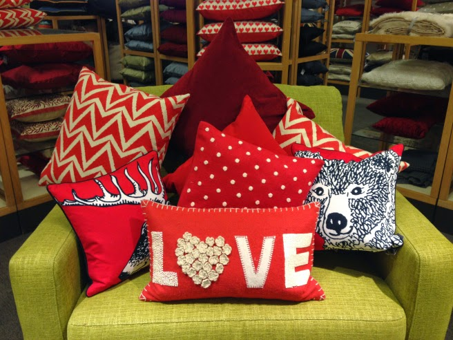 Red pillows for decorating