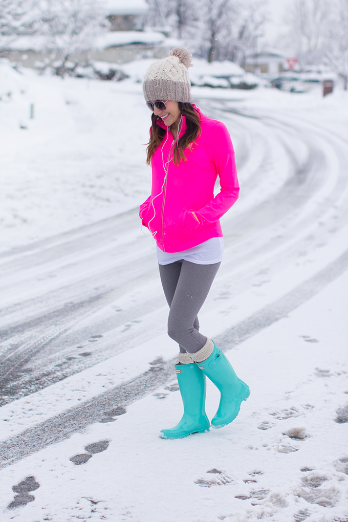 Abercrombie Athletics - Pink Jacket, Grey Leggings, Green Boots