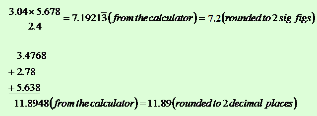 Significant Figures In Calculations Rounding Calculation Results