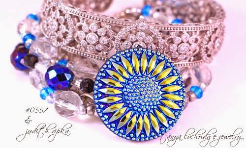 Tanya Lochridge Jewelry Vintage Czech Glass Button & Faceted Bead Five-Strand Bracelet