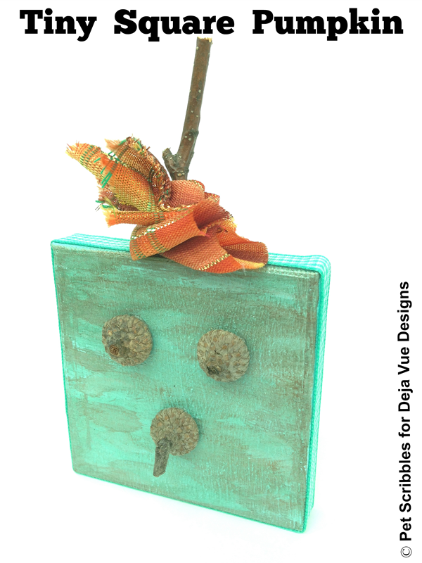 Tiny Square Pumpkin Craft, made from a 2.75 inch square artist canvas and acorn shells!