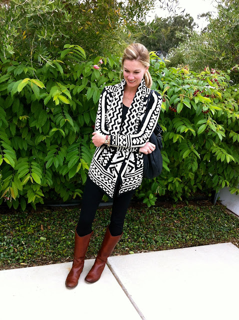 black with brown boots, black zara jeggings, black and cream urban outfitters sweater, black and white open cardigan, black and white urban outfitters sweater, frye boots in cognac, nordstrom frye boots, melissa button frye boots, c. style blog, cstyleblog, carly lee, carly s. lee, c-style blog