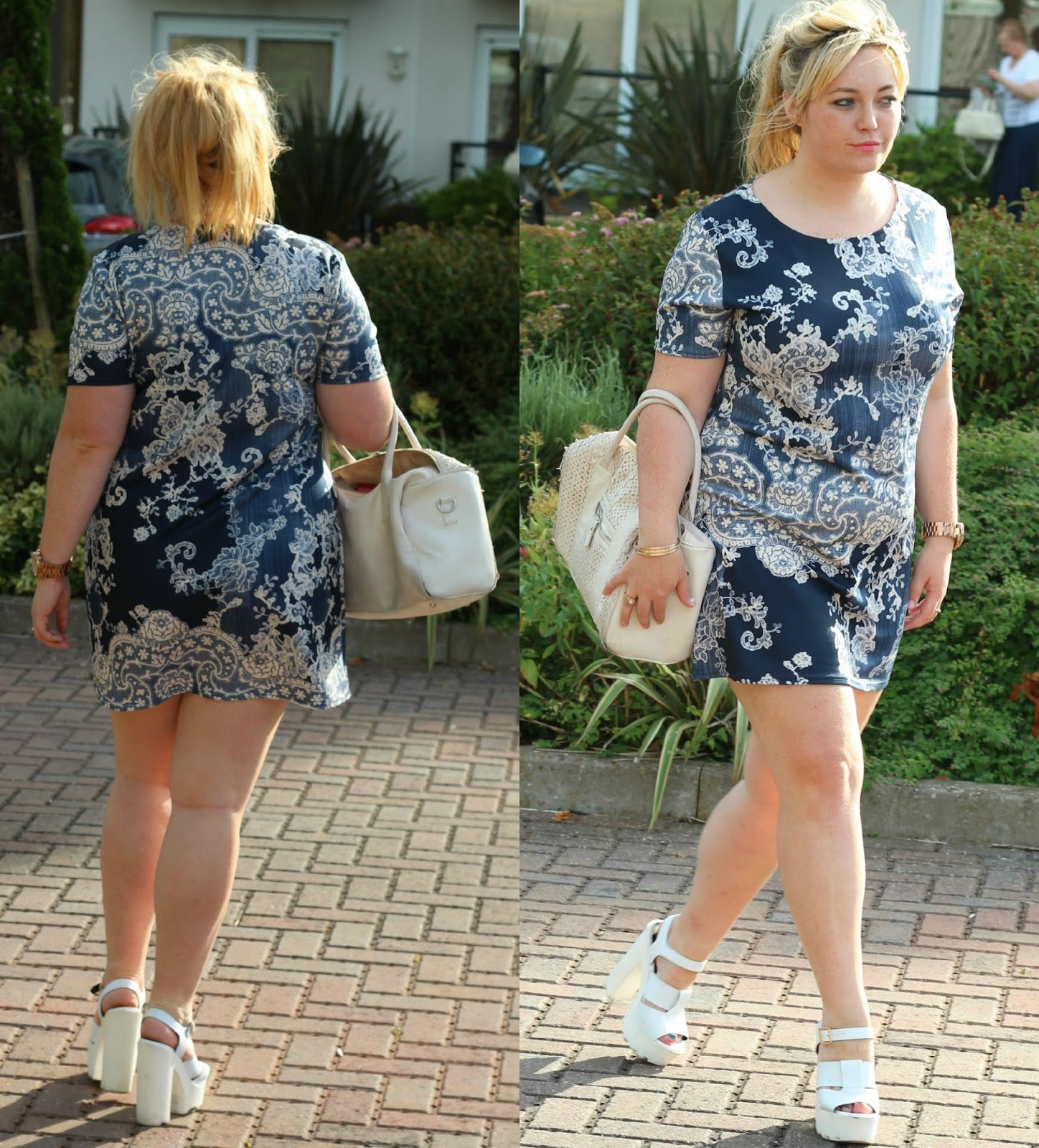 Boohoo paisley shift dress, navy white lace, primark bag, jewellery, river island white cleated sole platforms, summer, outfit style,