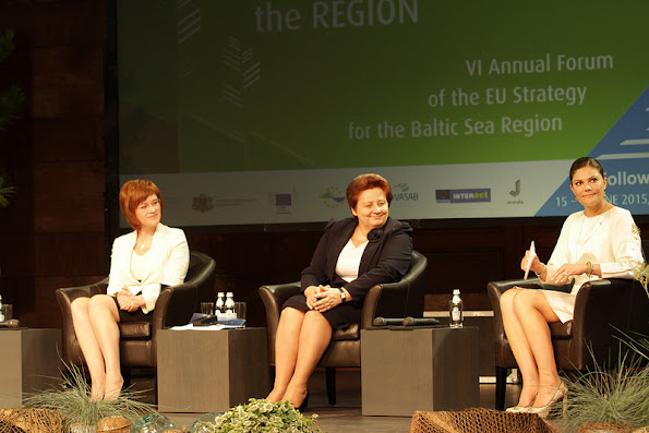 Crown Princess Victoria of Sweden visited the Latvia for participate in the opening ceremony of the VI Annual Forum of the EU Strategy for the Baltic Sea Region