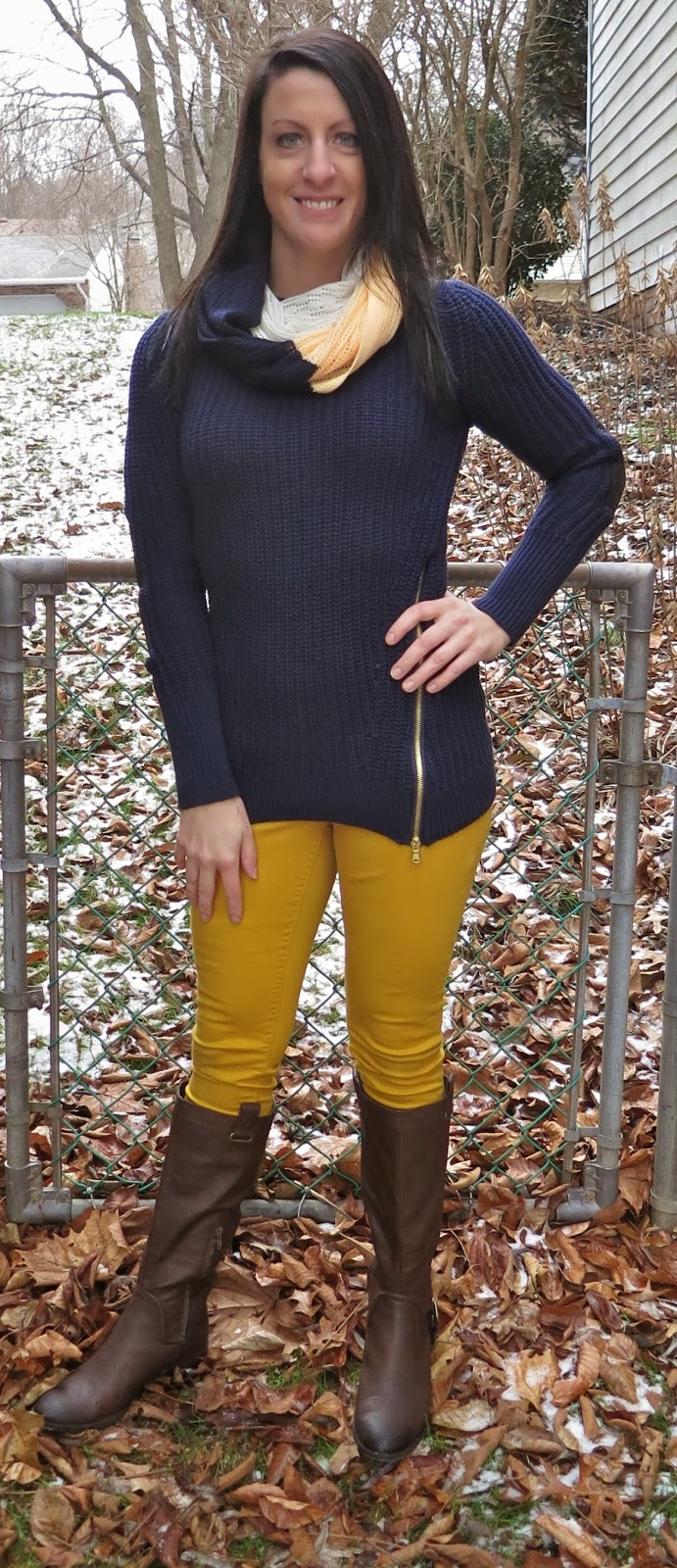 outfit fashion, brown boots, yellow pants, blue sweater, zara, justfab