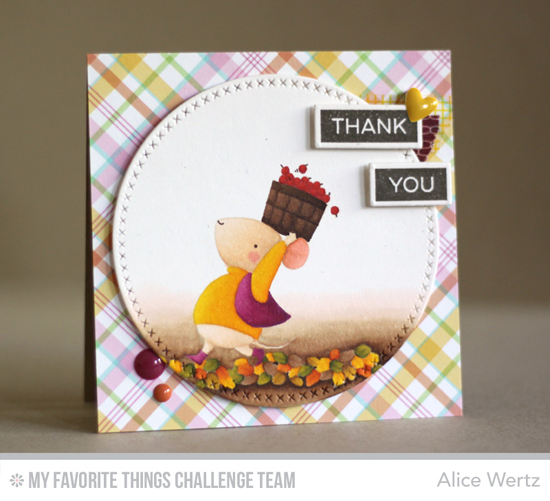 Whimsical Fall Thank You Card by Alice Wertz featuring the Birdie Brown Harvest Mouse and Label Maker Sentiments #mftstamps