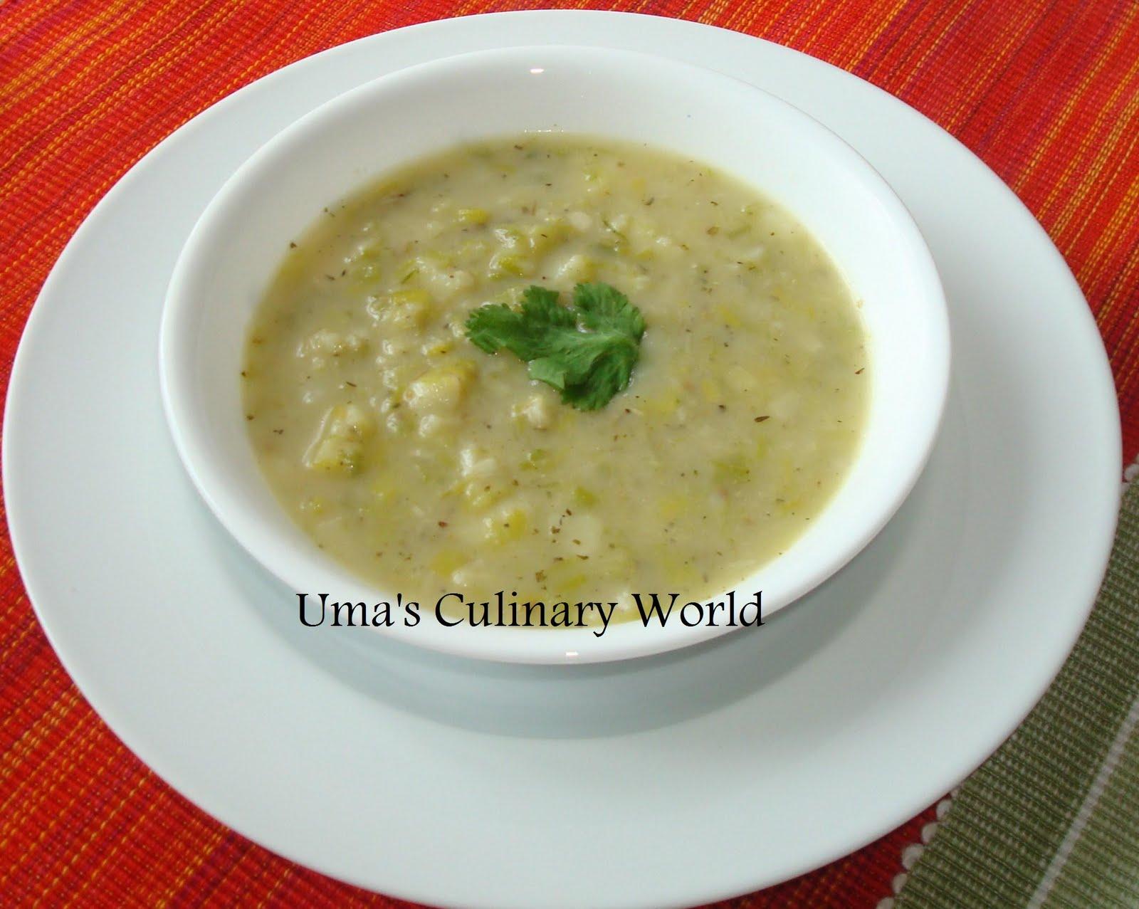 Creamy potato soup with leeks seasoned with Italian herbs.