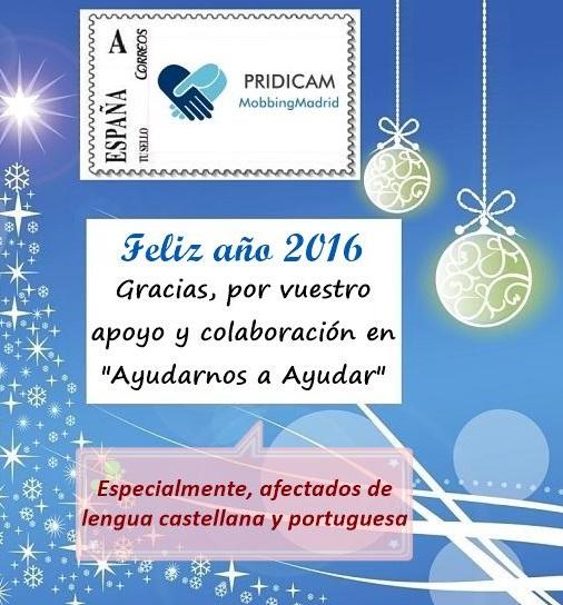 """Mobbing Madrid Feliz Año 2016 Gracias, por tu apoyo y colaboración en """"Ayudanos a Ayudar"""""""