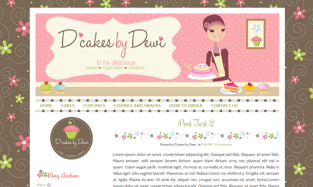 Blogs About Cake Decorating : Custom Cute Blog Design