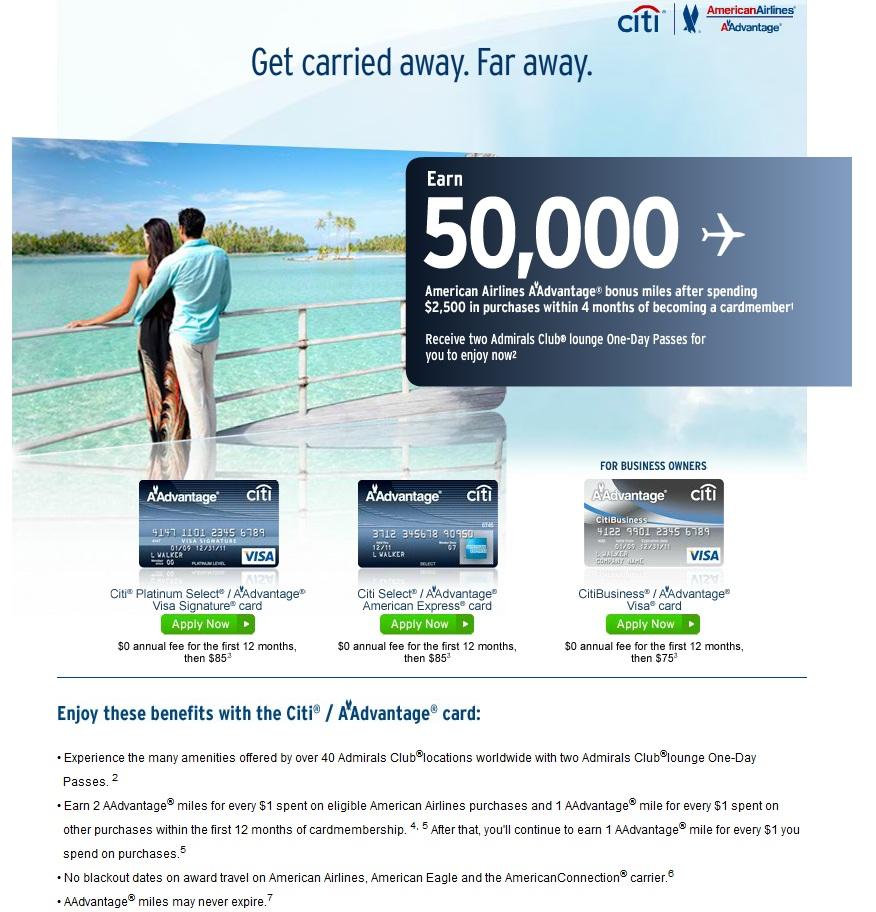 Green Espirit American Airlines 50000 Miles Citibank