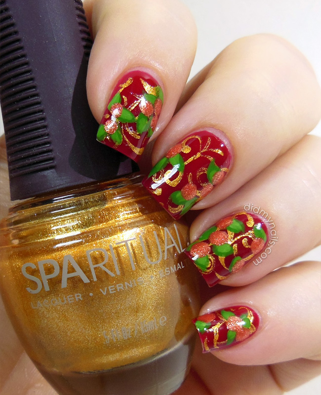 Chinese New Year nail art oranges and gold