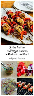 Grilled Chicken and Veggie Kabobs with Garlic and Basil [from KalynsKitchen.com]