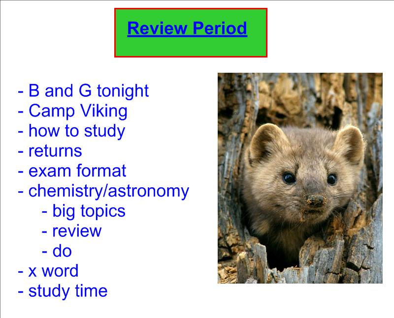 Exam review period chemistry and astronomy