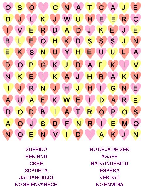 Juegos Bíblicos: Sopa de Letras para 1 Corintios 13 - El Amor es ...