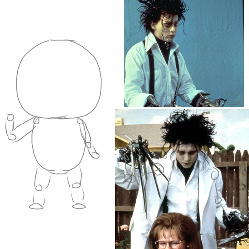 The references for my scissorhands inspiration.