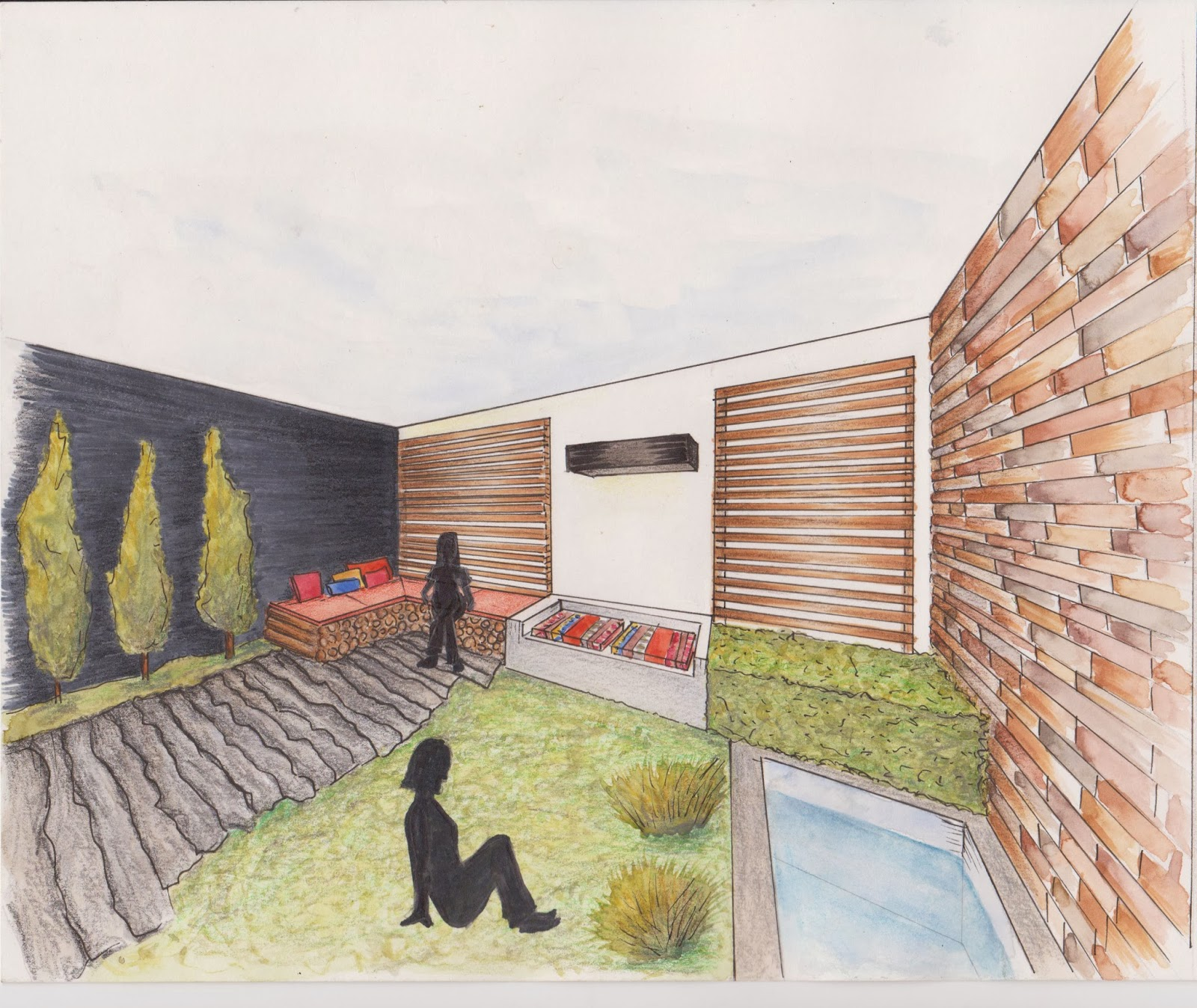 Dibujo perspectiva y color for Jardin 7 colores