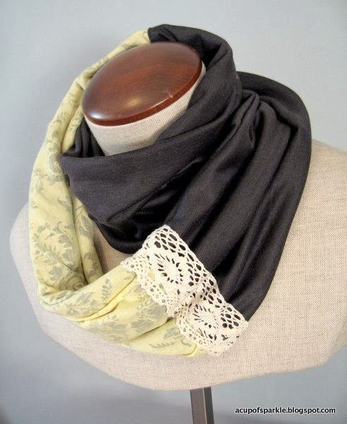 http://acupofsparkle.blogspot.com/2011/08/jersey-lace-scarf-tutorial.html