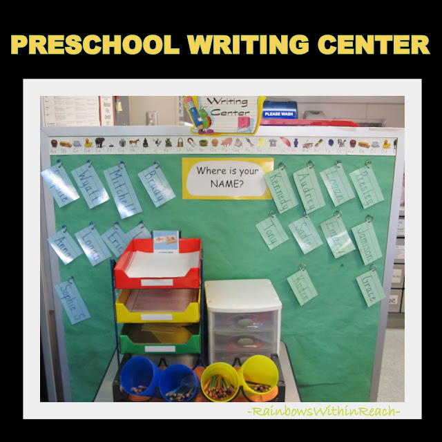 photo of: Preschool Writing Center for fine motor development