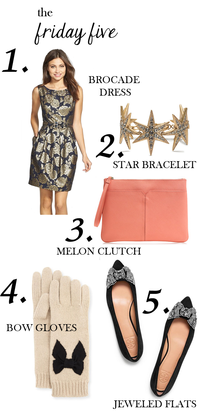the friday five with a brocade dress, star necklace, melon clutch, bow flats and bow gloves via M Loves M @marmar