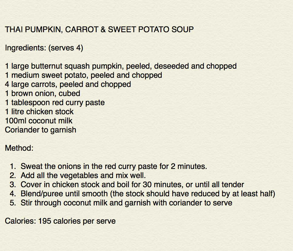 Fast Diet Recipe Files: Thai Pumpkin Soup
