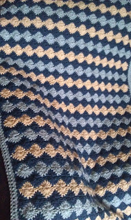 catherine wheel stitch  blue afghan