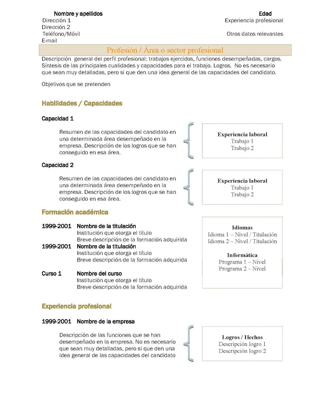 CONECTAR PROFESIONALES ESPAÑOLES: Curriculum Vitae